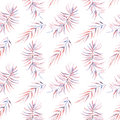 Seamless pattern with the watercolor branches with purple and pink leaves