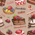 Seamless pattern with watercolor cake illustrations Royalty Free Stock Photos
