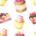 Seamless pattern with watercolor cakes
