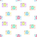 Seamless pattern with watercolor cameras