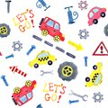 Seamless pattern with watercolor cartoon cars and spare parts. Design of children`s clothing, wallpaper, packaging, background,