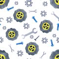 Seamless pattern with watercolor cars spare parts. Design of children`s clothing, wallpaper, packaging, background, wall