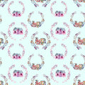 Seamless pattern with watercolor cartoon houses inside the floral wreaths in purple shades