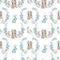 Seamless pattern with watercolor cartoon private house inside the floral wreaths