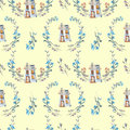Seamless pattern with watercolor cartoon private houses inside the floral wreaths