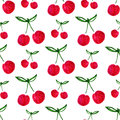Seamless pattern with watercolor cherry. Endless print background texture. Fabric design. Watercolor fruit vector