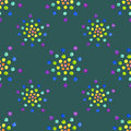 Seamless pattern with watercolor circles on dark green background