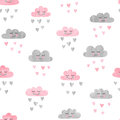 Seamless pattern with watercolor clouds and rain of hearts.