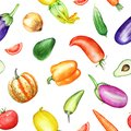Seamless pattern with watercolor colorful vegetables on white background