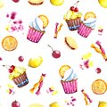 Seamless pattern. Watercolor cupcake with filling, orange and sweets. Isolated Easy to use for various menu design