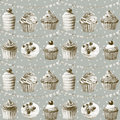 Seamless pattern watercolor cupcakes muffi and festiv flagsns monochrome illustration of baking color sepia Stock Image