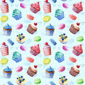 Seamless pattern watercolor cupcakes muffins macaroons colorful illustration of baking Royalty Free Stock Photo