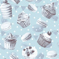 Seamless pattern watercolor cupcakes muffins macaroons monochrome illustration of baking blue color Stock Photography