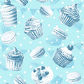 Seamless pattern watercolor cupcakes muffins macaroons monochrome illustration of baking blue color Royalty Free Stock Image