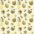 Seamless pattern watercolor cupcakes muffins macaroons monochrome illustration of baking color sepia Royalty Free Stock Photography
