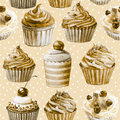 Seamless pattern watercolor cupcakes muffins monochrome illustration of baking color sepia Royalty Free Stock Photos