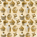 Seamless pattern watercolor cupcakes muffins monochrome illustration of baking color sepia Royalty Free Stock Photography