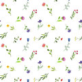 Seamless pattern with watercolor doodle plants and flowers