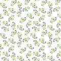 Seamless pattern with watercolor doodle plants