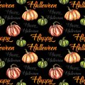 Seamless pattern with watercolor element for Happy Halloween