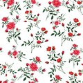 Seamless pattern of watercolor elements. Sprigs with green leaves and small red flowers.