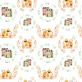 Seamless pattern with watercolor english cartoon houses inside the floral wreaths