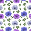 Seamless pattern with watercolor flowers Anemone Illustration of leaf sprigs Floral leaf textures handmade Digital paper Textile