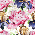 Seamless pattern with watercolor flowers. Iris Royalty Free Stock Photo