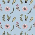 Seamless pattern with watercolor flowers, leaves, and berries.Spring and summer textiles