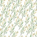 Seamless pattern with watercolor hand painted autumn leaves foliage inspired by garden greenery and plants. Hand painted foliage b