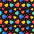 Seamless pattern with watercolor hearts, valentines day background, texture, wrapping. Vector eps10