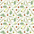 Seamless Pattern of Watercolor Herbs, Spots And Woods