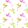 Seamless pattern with watercolor hummingbird silhouettes