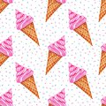 Seamless pattern with watercolor ice cream. Bright Sweets for Birthday postcard, Greeting card. Background for holiday and party.