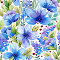 Seamless pattern with watercolor leaves and blue flowers.