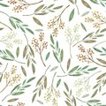 Seamless pattern with watercolor leaves and branches