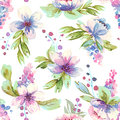 Seamless pattern with watercolor leaves and flowers.