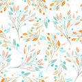 Seamless pattern with the watercolor mint and orange leaves and branches on a white background