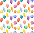 Seamless pattern with watercolor multi-colored balloons