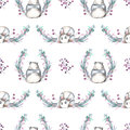 Seamless pattern with watercolor panda, berries and plants
