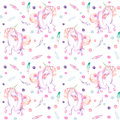 Seamless pattern with watercolor pink unicorn in tutu, feathers and confetti