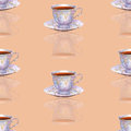 Seamless pattern with watercolor porcelain tea cups on cream ba