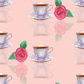 Seamless pattern with watercolor porcelain tea cups and roses on