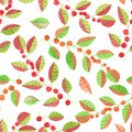 A seamless pattern with the watercolor red and orange berries on the branches with leaves on a white background