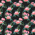 Seamless pattern with watercolor red peonies and green leaves