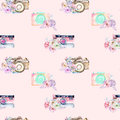Seamless pattern with watercolor retro cameras in floral decor