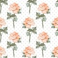 Seamless pattern with watercolor roses. Polka dots. Background 05