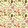 Seamless pattern with watercolor spices cinnamon, anise, basil, caraway, cardamom, red pepper, ginger, vanilla and cloves