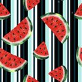 Seamless pattern with watercolor watermelon