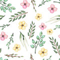 Seamless Pattern of Watercolor Wild Flowers and Leaves